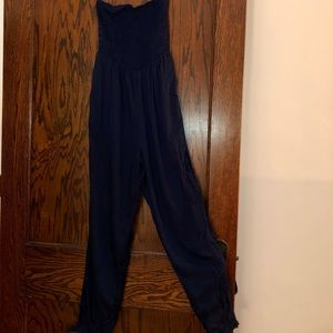 Ecote Navy Strapless Jumpsuit
